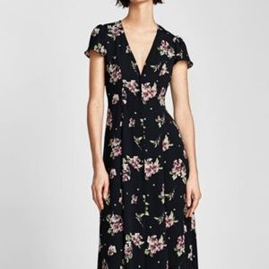 NWTZara Black floral button down Maxi Dress Size S